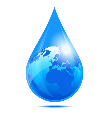 drop water: European and African Globe in a Water Droplet