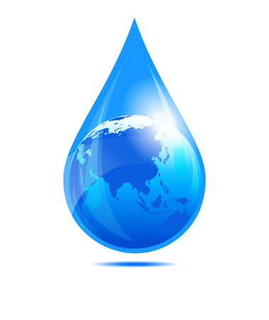 Water Drop World, Far East, India, China, Globe in a Water Droplet Illustration