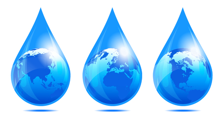drops of water: Water Drop World, Earth Globe in a Water Droplet Illustration