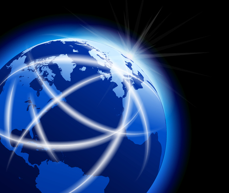 communication icons: Global World with Communications around the Globe