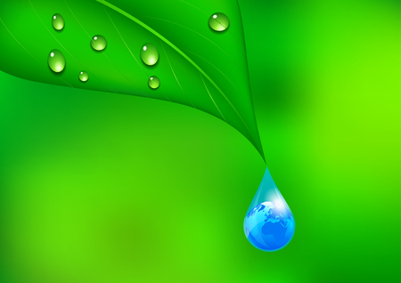 Water Drop with Earth Globe; Environmental Background Illustration