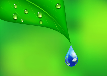 Water Drop with Earth Globe; Environmental Background - Elements of this image furnished by NASA Stock Photo