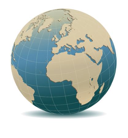 Retro Stijl Europa en Afrika, Globale Wereld, Elementen van deze afbeelding ingericht door NASA Stock Illustratie