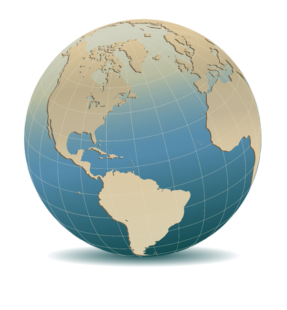 Retro Style North and South America, Europe, Africa Global World, Elements of this image furnished by NASA Illustration