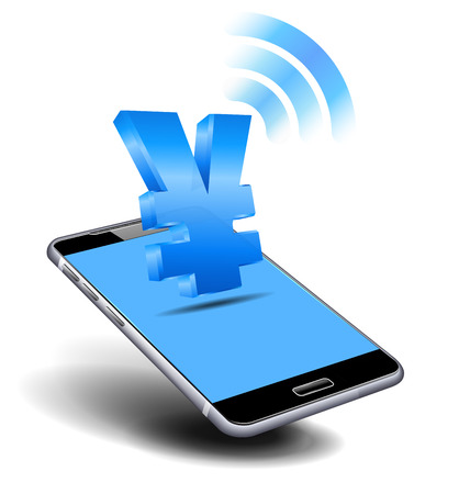 Pay Cash, Yuan, Yen, by Cell, Mobile Smart Phone