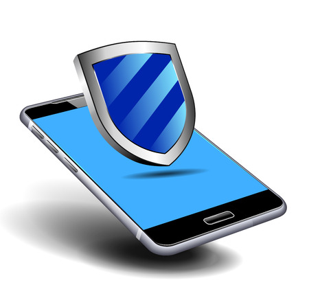 mobile communication: Security Shield Phone Cell Smart Mobile vector illustration
