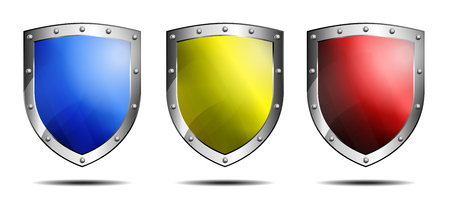 Three Shields Blue, Yellow and Red, protection Antivirus Security Firewall