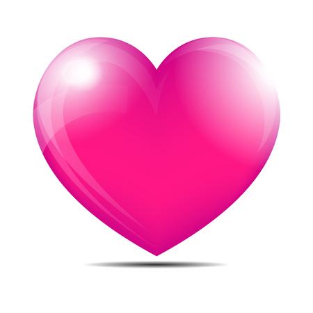 Pink, shiny heart graphic design illustration.