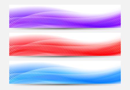 A modern set of vector Web Banner Header with Flowing Abstract Background  Ilustração
