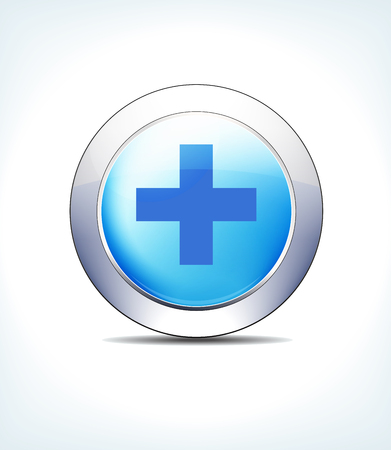 Blue Icon Button Hospital Cross, Healthcare