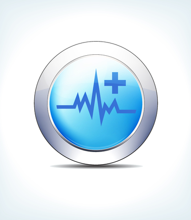 Blue Icon Button Heart beat with Plus Symbol Vector illustration. Stock Illustratie