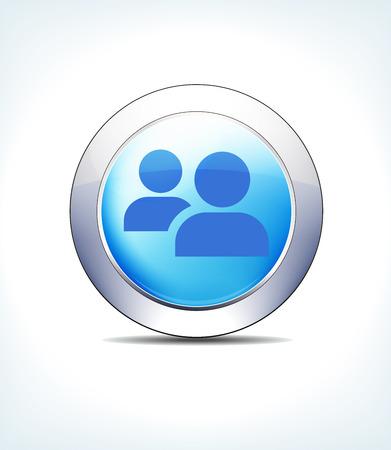 Blue Icon Button Patient Queue Symbol Vector illustration.  イラスト・ベクター素材