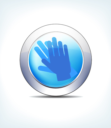 Blue Icon Button Clean Hands Wash, for use in your Healthcare   Pharmaceutical presentations Illustration