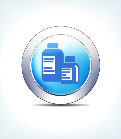 Blue Icon Button Medicine Bottles, for use in your Healthcare  and pharmaceutical presentations. Illustration