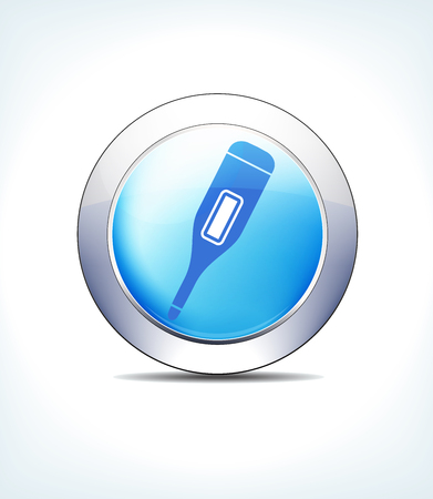 Blue Icon Button Thermometer, for use in your Healthcare & Pharmaceutical presentations