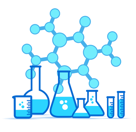 Glass Lab Jars, laboratory equipment icon set with Molecule chemical, Vessels, Vector illustration Illustration