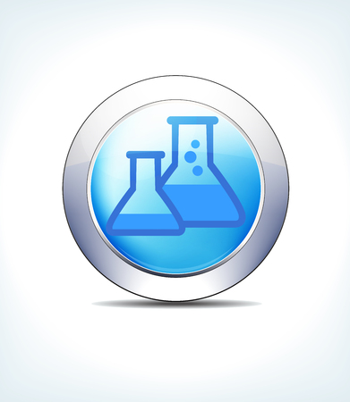 Blue Icon Button Beakers, Flasks, for use in your Healthcare & Pharmaceutical presentations