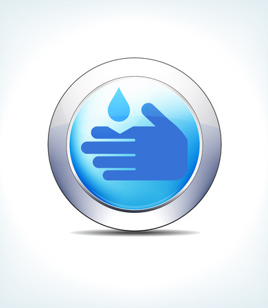Blue Icon Button Corrosive Sign, for use in your Healthcare & Pharmaceutical presentations Illustration