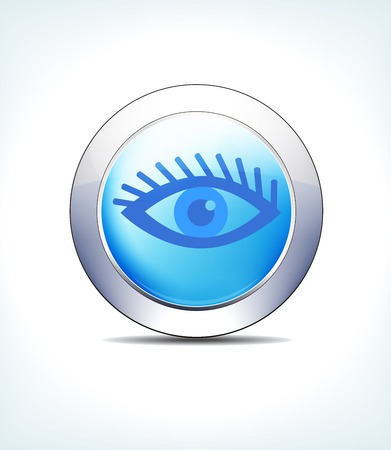 Blue Icon Button Eye Test Check, for use in your Healthcare & Pharmaceutical presentations Illustration