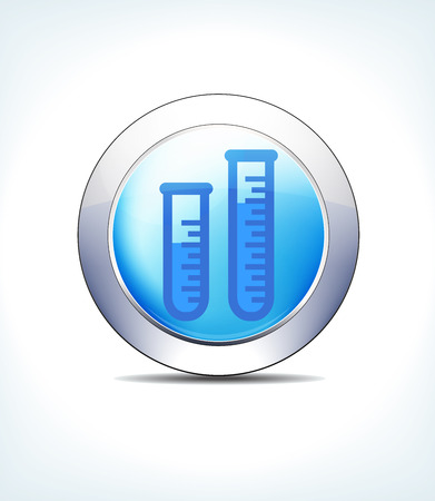 Blue Icon Button Test Tube Sample, for use in your Healthcare & Pharmaceutical presentations