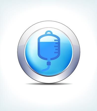 Bouton d'icône bleue goutte de sang, canule, liquides intraveineux ou IV, pour une utilisation dans vos présentations de soins de santé et de produits pharmaceutiques.