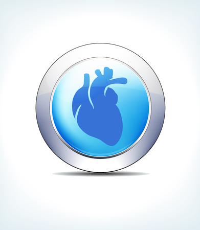 Blue Icon Button Heart, Cardiology for use in your Healthcare and Pharmaceutical presentations.