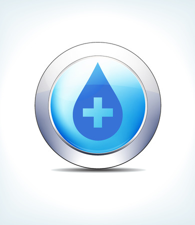 Blue Icon Button Medicine with Medical Cross for use in your Healthcare and Pharmaceutical presentations.