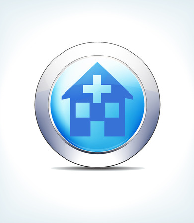 Blue Icon Button Home, Doctors, Surgery, Hospital, for use in your Healthcare and Pharmaceutical presentations. Illustration