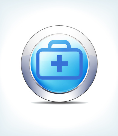 Blue icon button medical bag, kit, first aid, for use in your healthcare and pharmaceutical presentations.