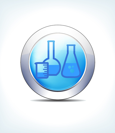 Blue icon button glass lab jars for use in your healthcare and pharmaceutical presentations. Illustration