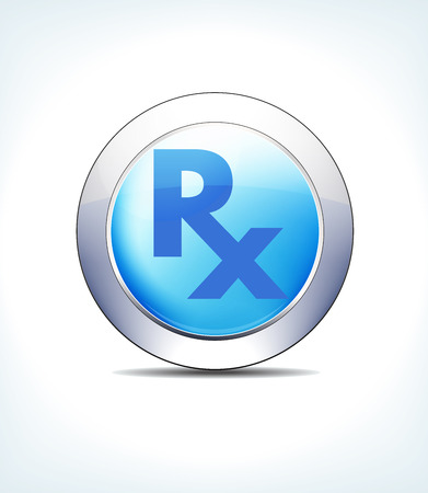 Blue icon button RX for use in your healthcare and pharmaceutical presentations.