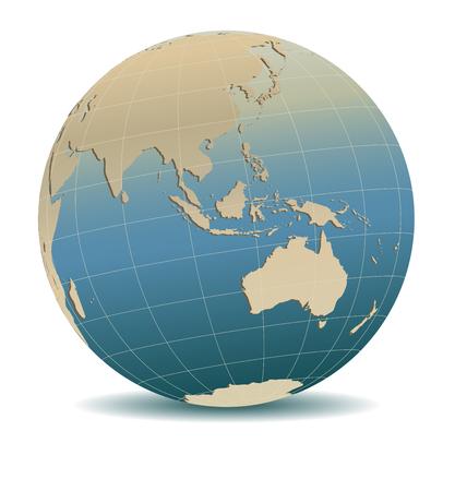 Asia and Australia, Global World - Retro World Globe Illustration