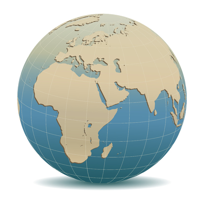 Retro Style Africa, Middle East, Arabia and India Global World vector illustration.