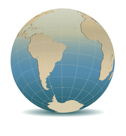 Retro Style South America, South Pole and Africa Global World.