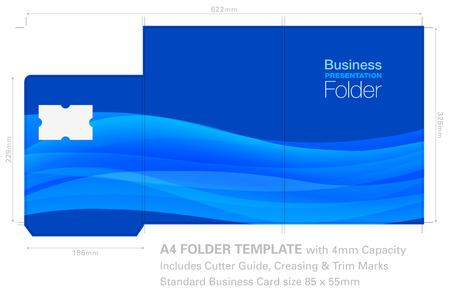 Carpeta de presentación Plantilla A4 con gráfico de fondo, guía de corte, ranura para tarjetas de visita estándar y capacidad de 4 mm. Ilustración de vector