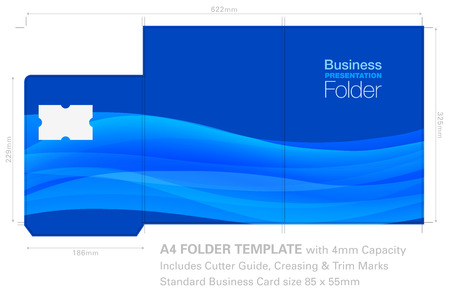 Presentation Folder A4 Template with Background Graphic, Cutter Guide, standard business card slot and 4mm capacity. 写真素材 - 105024681