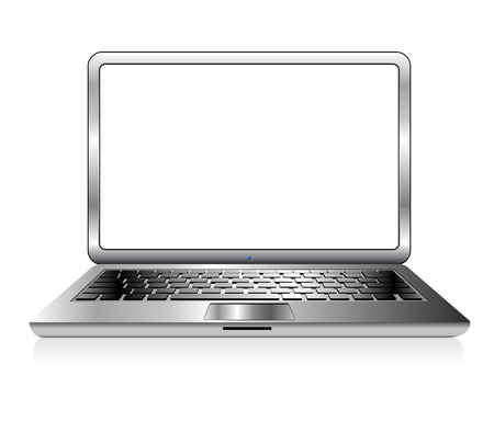 Modern office laptop with blank screen isolated on white background with reflection effect with space for your message.
