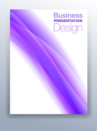 Purple Violet Brochure Cover Template Vector Design for Business Presentation with Abstract Flowing Background