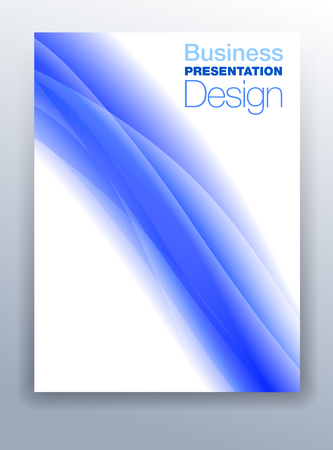 Mid Blue Brochure Cover Template Vector Design for Business Presentation with Abstract Flowing Background