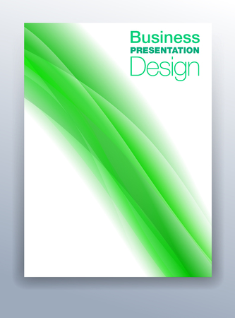 Vibrant Green Brochure Cover Template Vector Design for Business Presentation with Abstract Flowing Background