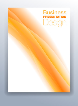Orange Brochure Cover Template Vector Design for Business Presentation with Abstract Flowing Background