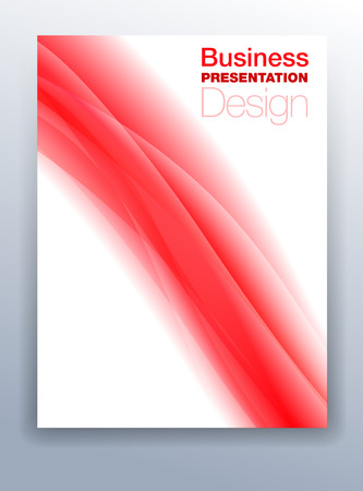 Red Brochure Cover Template Vector Design for Business Presentation with Abstract Flowing Background