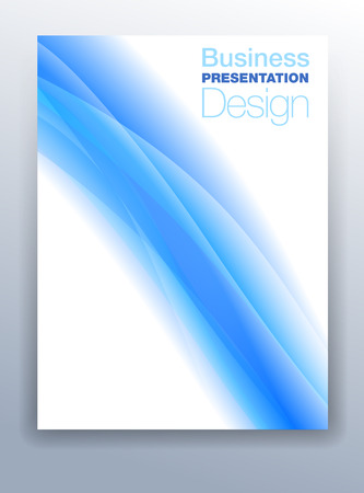 Blue Brochure Cover Template Vector Design for Business Presentation with Abstract Flowing Background