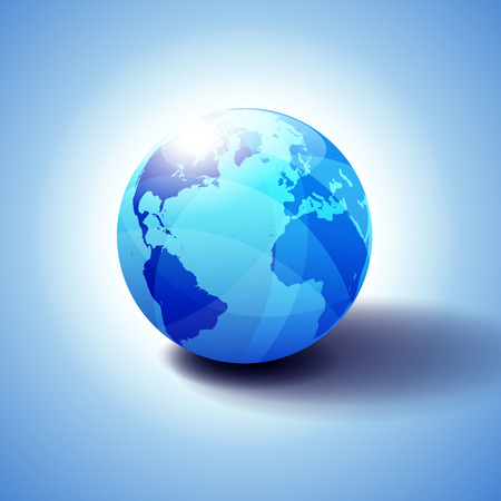 Europe, America, Africa Background with Globe Icon 3D illustration, Glossy, Shiny Sphere with Global Map in Subtle Blues giving a transparent feel. 일러스트