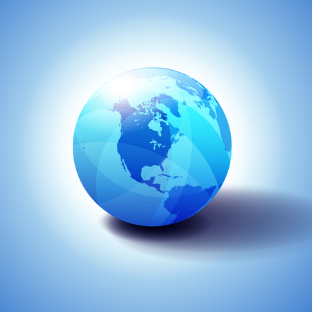 American Background with Globe Icon 3D illustration, Glossy, Shiny Sphere with Global Map in Subtle Blues giving a transparent feel.
