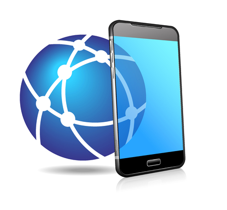 Phone Network Icon, Global Network Connection Phone Cell Smart Mobile Phone