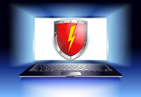 Computer Protection Security Laptop with shield - Internet security concept