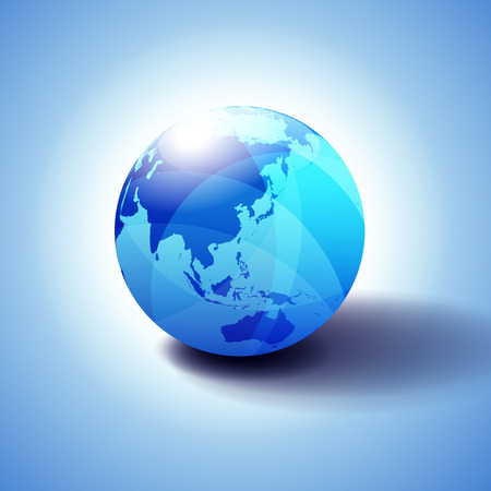 Far East China, Japan, Malaysia, Thailand and Indonesia, Background with Globe Icon 3D illustration 일러스트