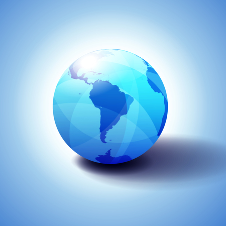 South America Background with Globe Icon 3D illustration, Glossy, Shiny Sphere with Global Map in Subtle Blues giving a transparent feel