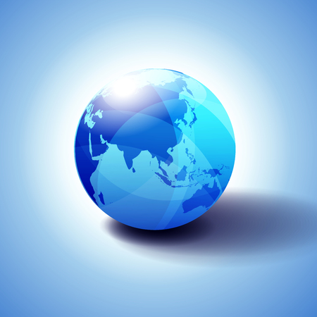 China and Asia, Background with Globe Icon Glossy, Shiny Sphere with Global Map in Subtle Blues giving a transparent feel.